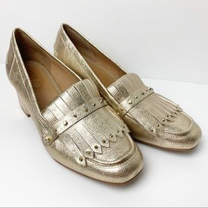 Franco Sarto Lauryn Gold Metallic Studded Loafers